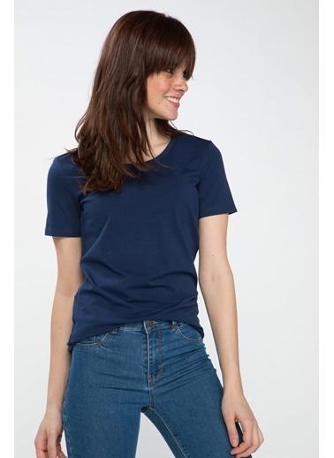 DeFacto Yuvarlak Yaka Basic T-shirt Lacivert
